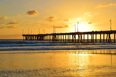 Venedig strandsolnedgång Fotografering för Bildbyråer