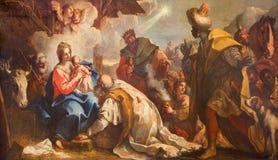 Venedig - tillbedjan av de tre vise männen vid Antonio Vassilacchi smeknamnl'Aliense (1556 - 1629) från den Chiesa di San Zaccari Royaltyfria Foton