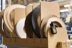 Veneer or edge band tapes at woodworking factory Stock Photography