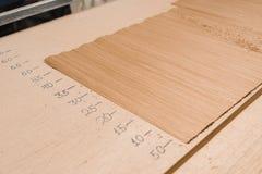 Veneer marking. On door production Royalty Free Stock Photo