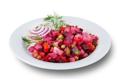 Venegret with red onions and dill on a plate Royalty Free Stock Photos