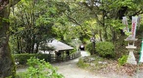 Venerated Dazaifu Tenmangu Japanese shrine. Dazaifu Tenmangu is a shrine built over the grave of Michizane Sugawara venerated by the Japanese throughout the Royalty Free Stock Image