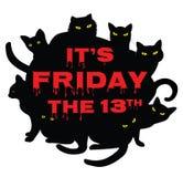 Venerdì 13 con i gatti neri Fotografia Stock