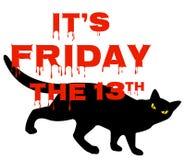 Venerdì 13 con il gatto nero Immagine Stock