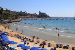 Venere Azzurra Beach, Lerici, Italien, Ligurian Riviera Fotografering för Bildbyråer