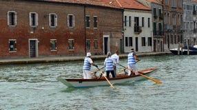 Venetain rowing team at the island of Murano Venice. Italy stock photography