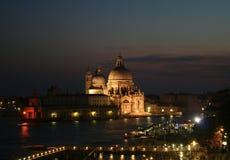 Venetië bij nachtpanorama Stock Afbeelding