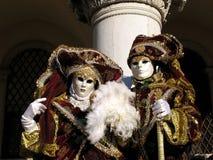 Venetië Carnaval: edel paar Royalty-vrije Stock Foto's