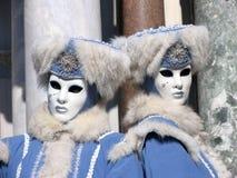 Venetië Carnaval: Woedende tweelingen Stock Foto's
