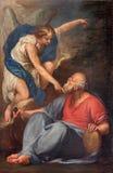 Venetië - de Helderziende Elijah Receiving Bread en Water van een Engel door onbekende schilder in kerk Santa Maria della Salute Stock Foto's