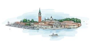 Venetië - Eiland van San Giorgio Maggiore Stock Foto