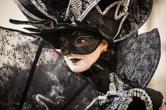 Venetië - Februari 6, 2016: Kleurrijk Carnaval-masker door de straten van Venetië Royalty-vrije Stock Afbeelding