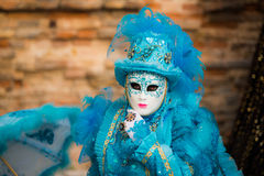 Venetië - Februari 6, 2016: Kleurrijk Carnaval-masker door de straten van Venetië Royalty-vrije Stock Foto
