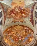 Venetië - Gloria della Santissima Trinita met San Lorenzo Giustiniani in pastorie van kerk Chiesa Di San Pietro de Castello Royalty-vrije Stock Foto's