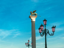 VENETIË, 12,2014 ITAKY-MEI: Foto van de leeuw van StMarkin Venetië, Ital Stock Fotografie