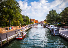 VENETIË, ITALIË - AUGUSTUS 17, 2016: Mening over cityscape van Grand Canal op 17 Augustus, 2016 in Venetië, Italië Stock Afbeelding