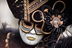 Venetië, Italië Carnaval van Venetië, mooie maskers bij St Teken` s Vierkant stock afbeelding