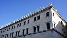 Venetië, Italië, dei Tedeschi, een fragment van T Fondaco van de hogere vloeren stock foto