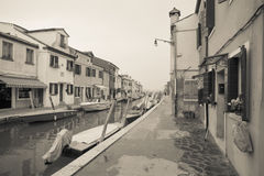 Venetië, Italië - Februari 09, 2016: Uitstekende mening van het Burano-eiland, Venetië Royalty-vrije Stock Afbeeldingen