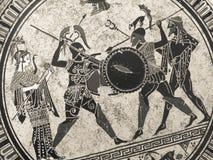 VENETIË, ITALIË - JULI 02, 2017: Detail van een oude historische Griekse verf over een schotel Mythische helden en goden die op h Stock Afbeelding