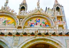 Venetië, Italië - Mei 04, 2017: Het detail van St Mark Basilica Stock Afbeelding