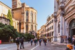 VENETIË, ITALIË - OKTOBER 27, 2016: Detail van Basiliekdei Santi Giovanni e Paolo, Één van de grootste kerken in de stad met stock foto