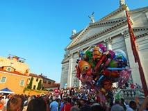 VENETIË, ITALIË - 07/18/2015: Voorbereidingen voor het Festival van de Verlosser Royalty-vrije Stock Foto's