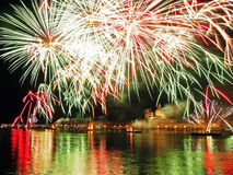 Venetië, Italië - vuurwerk bij het Festival van de Verlosser Stock Foto's