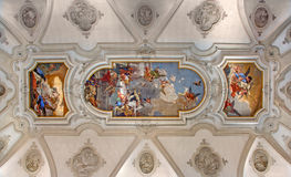 Venetië - Plafondfresko van kerk Santa Maria del Rosario (Chiesa-dei Gesuati) door Giovanni Battista Tiepolo van 18 cent Royalty-vrije Stock Foto