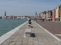 Venetië - Riva van Schiavoni stock foto's