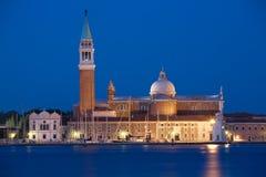 Venetië, 's nachts het eiland van San Giorgio Stock Foto