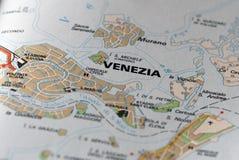 Venetië op de kaart Stock Foto