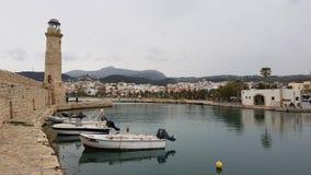 Venetiaanse de Havenvuurtoren Kreta Griekenland van de Rethymnostad stock foto's