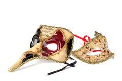 Venetiaanse geïsoleerdea maskers Royalty-vrije Stock Foto's