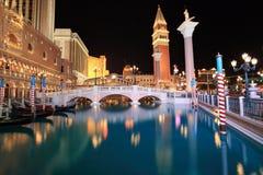 Venetiaanse Las Vegas bij nacht Stock Afbeelding