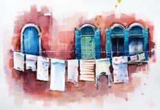 Venetiaanse vensters Het Schilderen van de waterverf vector illustratie