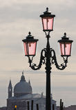 Venetian Architecture. Street lamppost  in front of San Giorgio Maggiore church in Venice, Italy Royalty Free Stock Image