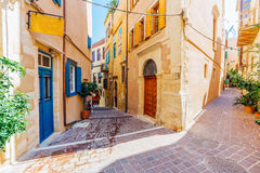 Venetian architecture of Chania, Crete. Venetian architecture in narrow stone streets of old town Chania in Crete, Greece Royalty Free Stock Image