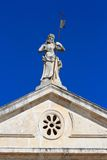 Venetian architecture and detail of church facade in Perast Royalty Free Stock Image