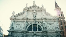 Ancient Venetian architecture, Italy. Venetian architecture, statues and stucco Royalty Free Stock Image