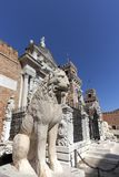 Venetian Arsenal, old shipyard, stone lion, Venice, Italy stock photo
