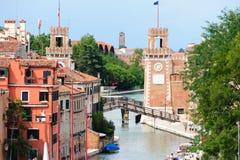 Venetian Arsenal's entrance. VENICE, ITALY - JULY 10, 2009: The Venetian Arsenal's entrance as seen from the lagoon Royalty Free Stock Image