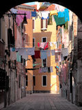 Venetian backyard. With clothesline and laundry Stock Photo