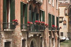 Venetian balcony. A typical venetian balcony on the canal with some red flowers Stock Photography
