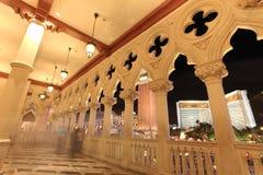 Venetian Balcony Columns and Arches in Las Vegas. At dusk stock photos