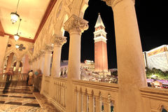 Venetian Balcony columns and Arches in Las Vegas. Venetian Balcony columns with venetian tower in Las Vegas at dusk Stock Photography