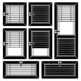 Venetian blind window black symbols Stock Images