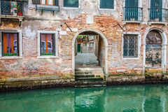 Venetian buildings and boats along Canal Grande, Venice, italy Stock Photography