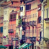 Venetian buildings with facades of many colors in Venice in Ital Stock Photography