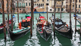 Venetian Canal. View on Grand Canal and gondolas in Venice, Italy Royalty Free Stock Photos